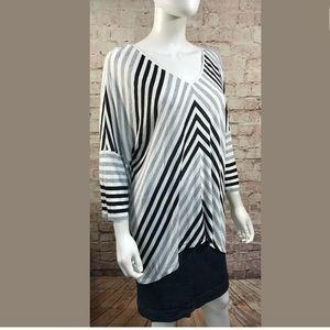 WHBM Stripe Large Asymmetrical 3/4 Sleeve Shirt